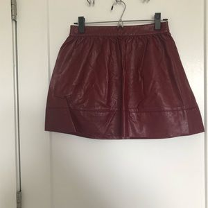 New Burgundy Faux Leather skater skirt